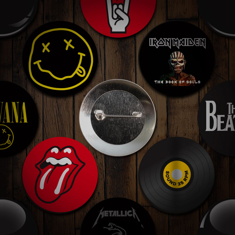Music badge buttons