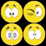 Kονκάρδες emoticons money κίτρινες σετ 4 τεμάχια