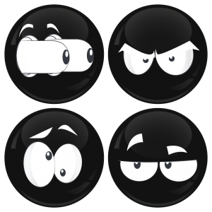 Kονκάρδες emoticons eyes out μαύρες σετ 4 τεμάχια