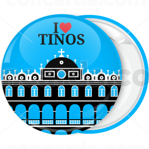 Τουριστική κονκάρδα I Love Tinos εκκλησία μαύρη απόχρωση