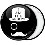 Κονκάρδα I am the  Groom Hat Moustache