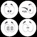 Kονκάρδες emoticons money λευκές σετ 4 τεμάχια