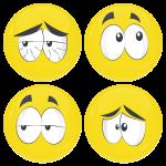 Kονκάρδες emoticons Crack κίτρινες σετ 4 τεμάχια