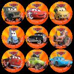 Παιδικές κονκάρδες Cars orange one - 9 τεμάχια