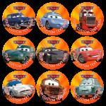 Παιδικές κονκάρδες Cars orange two - 9 τεμάχια