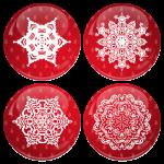 Κόκκινες Χριστουγεννιάτικες κονκάρδες χιονονιφάδες