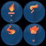 Σετ κονκάρδες Ολυμπιακή φλόγα 4 τεμάχια