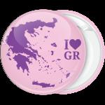 Κονκάρδα Ι Love GR χάρτης Ελλάδας ροζ