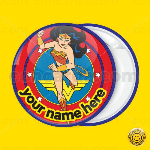 b245782bb5d Wonder Woman blue badge button