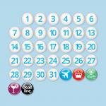 36 μαγνητάκια 25mm για ημερολόγιο ψυγείου