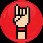 Κονκάρδα Rock Hand Horn κόκκινη