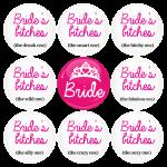 Κονκάρδες Brides Bitches & Bride σετ 9 τεμάχιων