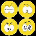 Kονκάρδες emoticons Zong κίτρινες σετ 4 τεμάχια