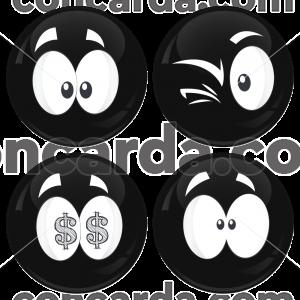 Kονκάρδες emoticons money μαύρες σετ 4 τεμάχια