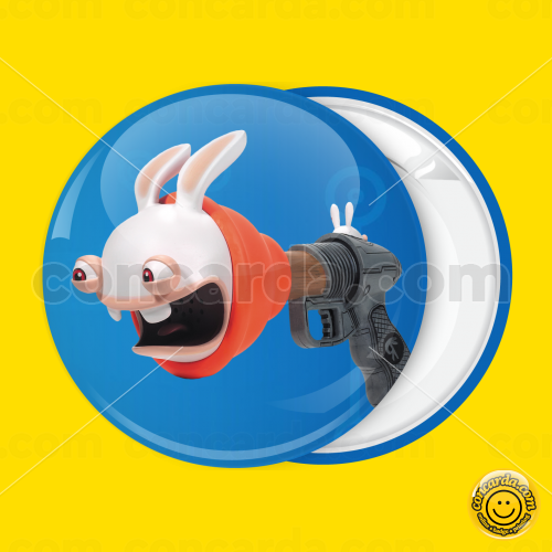 d52592ed9c7 Badge button Rayman Raving Rabbids face gun