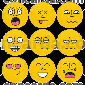 Σετ εννέα κίτρινες κονκάρδες smiley