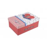 Χάρτινο ορθογώνιο κουτί για κονκάρδες ναυτικό κόκκινο μεγάλο