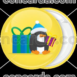 Χριστουγεννιάτικη κονκάρδα penguin with present