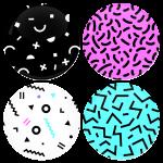 Σετ κονκάρδες 4 τεμαχίων patterns cga