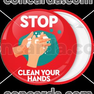 Κονκάρδα Stop Clean your hands κόκκινη