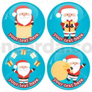 Χριστουγεννιάτικες κονκάρδες classic Santa Claus 4 τεμάχια