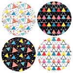 Χρωματιστές Κονκάρδες patterns τρίγωνα - Σετ 4 τεμάχια