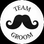 Κονκάρδα γάμου Team groom mustache λευκή