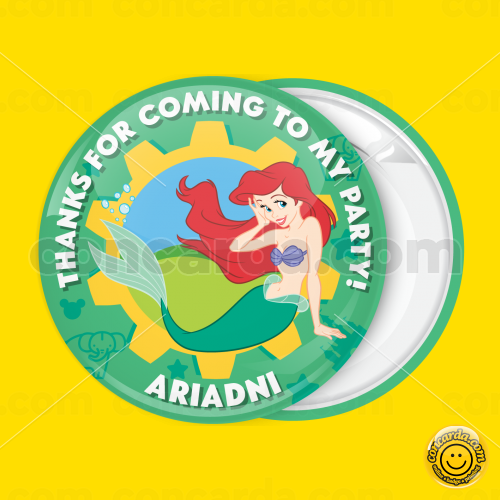 6a74e3953cf Ariel mermaid pin badge button
