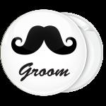 Κονκάρδα γάμου Groom Mustache λευκή