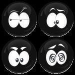 Kονκάρδες emoticons Zong μαύρες σετ 4 τεμάχια