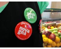 Διαφημιστικές κονκάρδες novagea κατάστημα χυμών