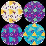 Χρωματιστές Κονκάρδες patterns σχήματα - Σετ 4 τεμάχια