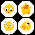 Σετ κονκάρδες κίτρινα πουλάκια 4 τεμάχια