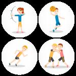 Σετ τέσσερις κονκάρδες αθλήματα