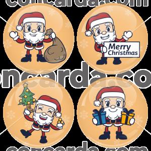 Χριστουγεννιάτικες κονκάρδες Little Santa Claus 4 τεμάχια