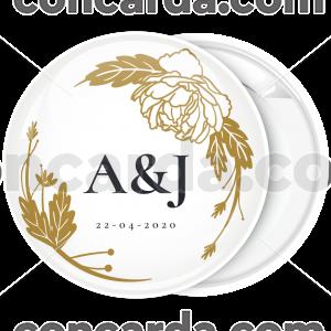 Κονκάρδα πρόσκληση γάμου floral χρυσό
