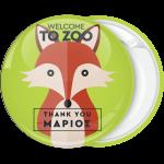 Πράσινη κονκάρδα παιδικού πάρτυ Welcome to Zoo αλεπού