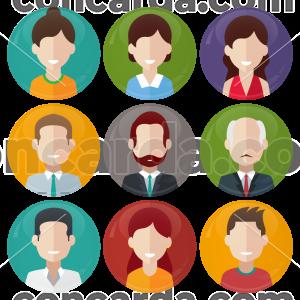 Σετ εννέα κονκάρδες avatar office style
