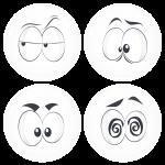 Kονκάρδες emoticons Zong λευκές σετ 4 τεμάχια