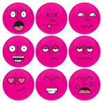 Σετ εννέα ροζ κονκάρδες smiley