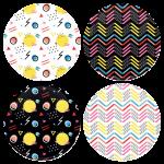 Χρωματιστές Κονκάρδες patterns line & circles - Σετ 4 τεμάχια
