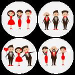 Σετ 4 κονκάρδες γάμου καλεσμένων