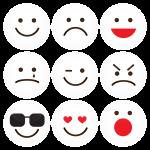 Σετ εννέα λευκές κονκάρδες smiley